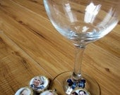 Custom Photo WINE CHARMS made from tree branches and reclaimed beads- set of 4