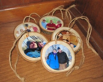 Custom Photo Ornaments made from tree branches