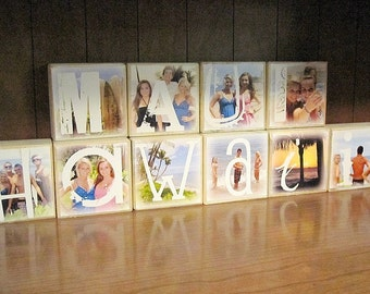 VACATION Photo Letter Blocks- per block price- display your FAMILY photos from your trip