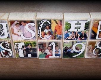 PERSONALIZED Photo Blocks- Last Name WEDDING / ENGAGEMENT Gift- per block price