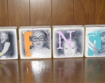 Wooden NAME Photo Blocks- for child or baby's room- custom match colors and theme