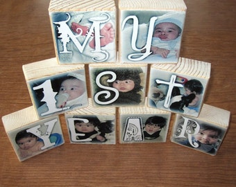 Personalized Photo Blocks Set of 9 Letters- MY 1ST YEAR for baby's first birthday party decor or gift