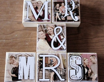 PERSONALIZED Photo Letter Blocks- for your wedding- MR. and MRS. reception decoration