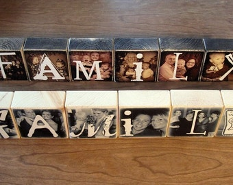 TWO sets of FAMILY blocks- Personalized GIFT- Photo Letter Blocks- FAMiLY- set of 12