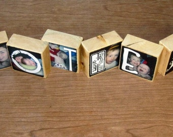 Personalized Gift- Photo Letter Blocks- set of 8- BROTHERS last name MEMORIES Baseball VACATION Football