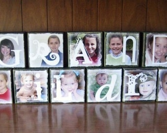 Personalized Photo Letter Blocks- SET OF 13- GRANDCHILDREN