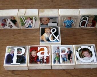 PERSONALIZED Photo Blocks Set of TWELVE Letter Blocks- Maw-Maw (and) PAPA