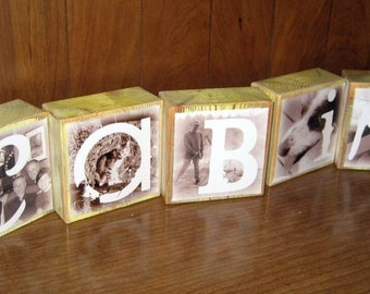 Personalized Photo Gift- Photo Letter Blocks- set of 5- TE AMO Daddy Poppy Cabin Beach