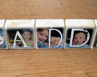 Personalized Photo GIFT- DADDY- set of 5- Photo Letter Blocks