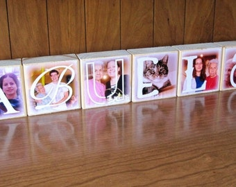 Photo Blocks- ABUELA- set of 6 Letter Blocks- personalized photo gift