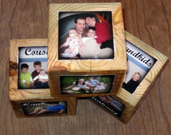 Personalized PHOTO CUBE- recycled barn posts- 5 CUBES