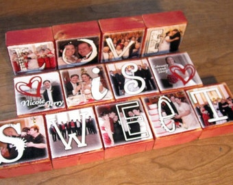 Wood Blocks with PHOTOS- LOVE Is SWEET for your wedding- candy bar- per block price