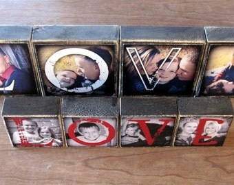 Personalized WEDDING GIFT- Larger Photo Letter Blocks- set of 4- LOVE