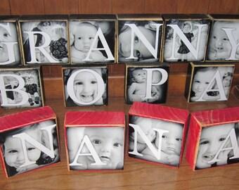Personalized Gift- Photo Letter Blocks- GG Oma Nanny Mimi Mom Grandma Nana MaMaw Grammie Mama Mother Gram Nonni- PER Block PRICE