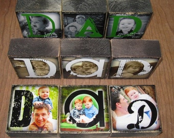 PERSONALIZED Gift- Photo Blocks- MOM Dad POP Sis- set of 3 Letter Blocks