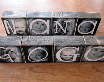 PERSONALIZED Gift for Mother's Day- Photo Letter Blocks- Love, Aunt, Gram, Nana, Mama set of FOUR