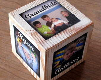 Photo Gift- Personalized PHOTO CUBE for GRANDMA- recycled barn posts- limited quantity