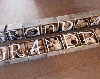 Personalized Photo Blocks- set of 15 Letter Blocks- GRANDMA & GRANDPA
