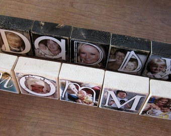 Personalized Photo Blocks for Mother's Day- instead of a card- set of 5- Mommy TE AMO Daddy Gramp