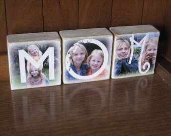 Photo Gift MOM Wood- MOM Photo Blocks- set of 3