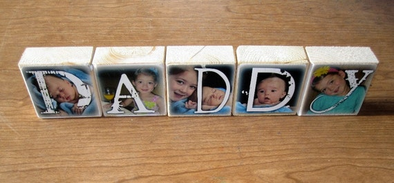 Personalized gift- DADDY- set of 5 Photo Blocks