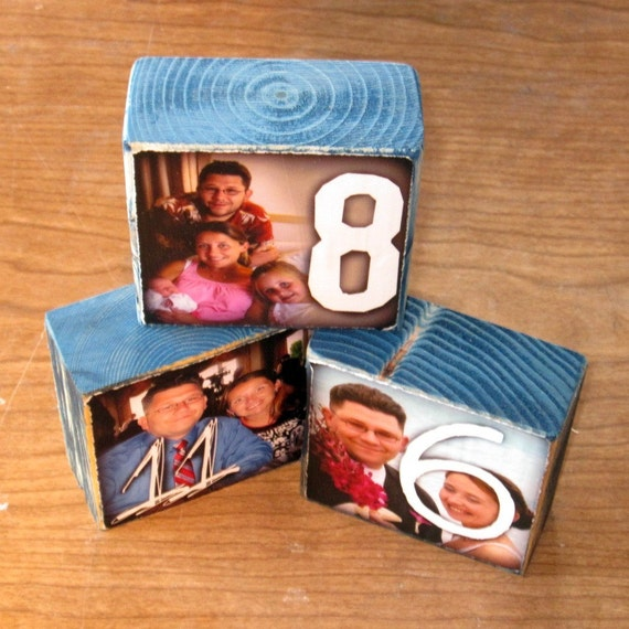 Custom TABLE NUMBERS for your wedding- Photo Blocks- set of 12 small blocks in any color to match your wedding decor