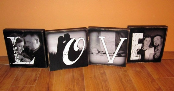 EXTRA Large Photo Letter Blocks- 9 inch square- set of 4- LOVE