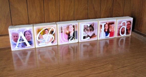 Photo Blocks- ABUELA- set of 6 Letter Blocks- personalized photo gift