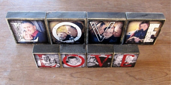 MOTHER'S DAY Gift Personalized Larger Photo Letter Blocks- set of 4- LOVE