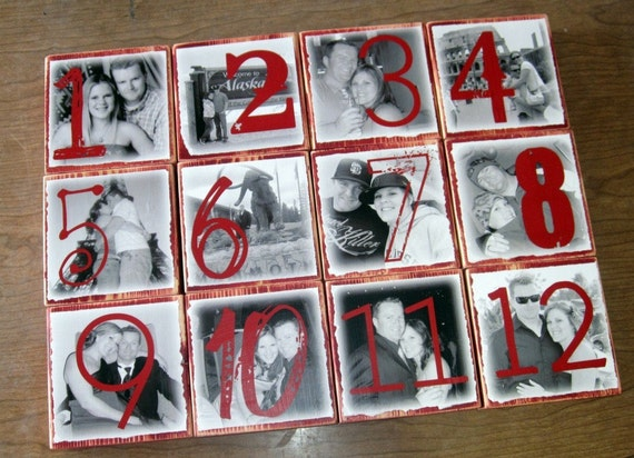 PERSONALIZED Photo Blocks- Table NUMBERS for your wedding-set of 12 LARGE blocks- 5 1/2 inch