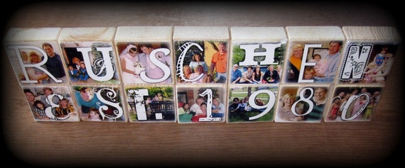 Photo Letter Blocks- Last Name Wedding Decoration- set of 11
