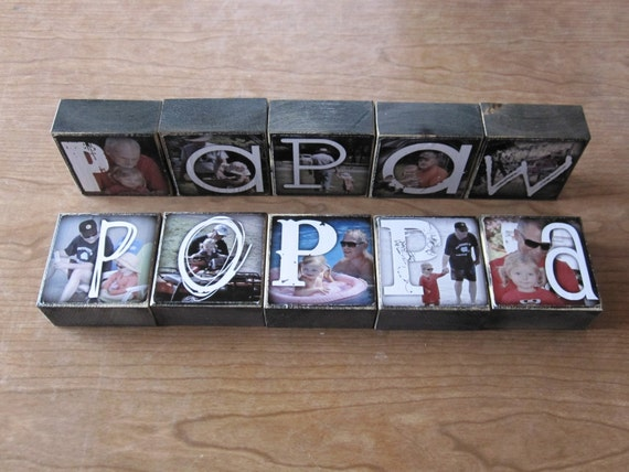 Photo Blocks- instead of a card- set of 10 letter blocks- TE AMO Daddy POPPY