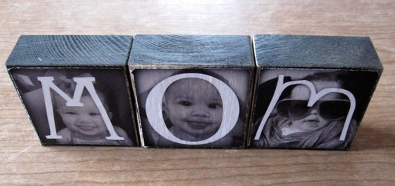 Personalized gift- Photo Letter Blocks- BFF Sis MOM Dad POP- set of 3