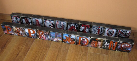 BASKETBALL Photo Letter Blocks- set of 10- made to order in your school colors