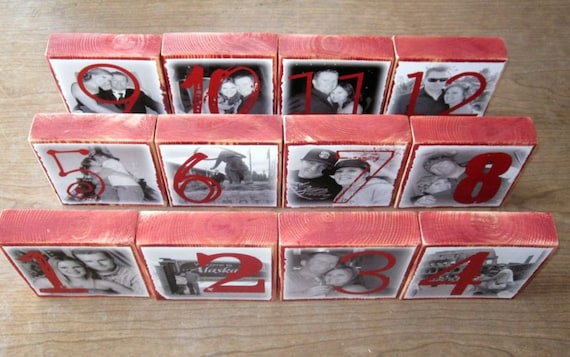 Personalized TABLE Numbers-set of 20 LARGE two-sided Photo Blocks