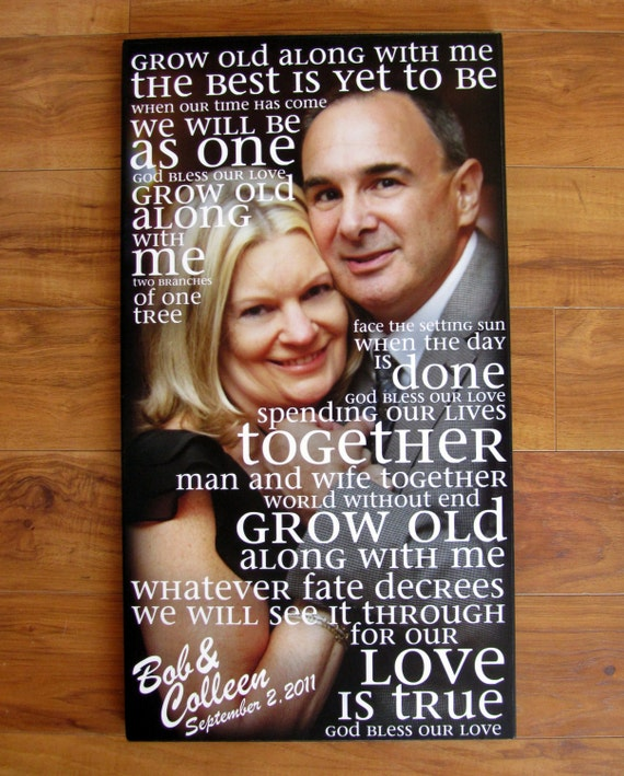 """WEDDING vows GIFT for the bride and groom- ANNIVERSARY gift- Personalized Photo Giclee MoUNTED prints- custom made to order- 13"""" x 28"""""""