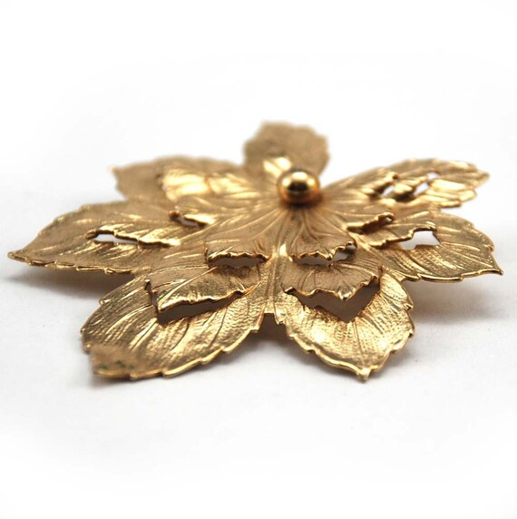 1960s Bronze Gold Toned Leaf Brooch