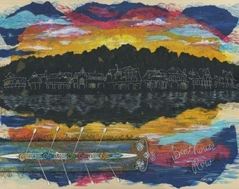 Boathouse Row mixed media matted print, Philadelphia Rowers art, Rowing print, small or large