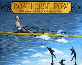 Boathouse Row illustration, 8x10 matted print, Philadelphia, Rowing print, Schuylkill River Rower