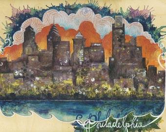 Philadelphia Skyline, Philly PA Pennsylvania Skyline art, Colorful sunset city art print