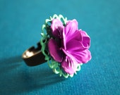 purple rose and mint filigree ring.