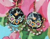 Lilygrace Black and Pastel Bird Floral Cameo Earrings with Freshwater Pearls and Vintage Rhinestones