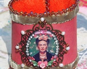 Lilygrace Frida Kahlo Art Cuff with Freshwater Pearls, Vintage Rhinestones  and Glass Beads