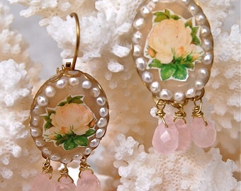 Lilygrace Vintage Golden Yellow Rose Oval Cameo Earrings with Freshwater Pearls and Rose Quartz