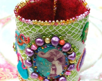 Joyful Lilygrace Vintage Circus Art Cuff with Freshwater Pearls, Coral and Glass Beads