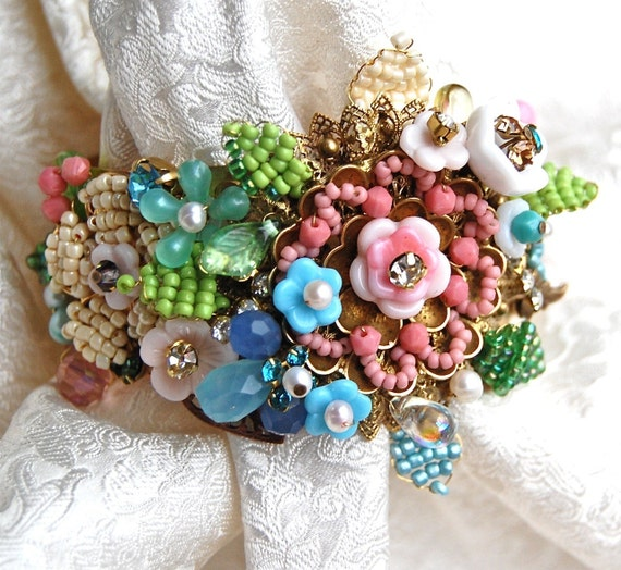 Exquisite Lilygrace Pastel Floral Handwired Antique Brass Cuff with Vintage Rhinestones and Vintage Miriam Haskell Glass Flowers