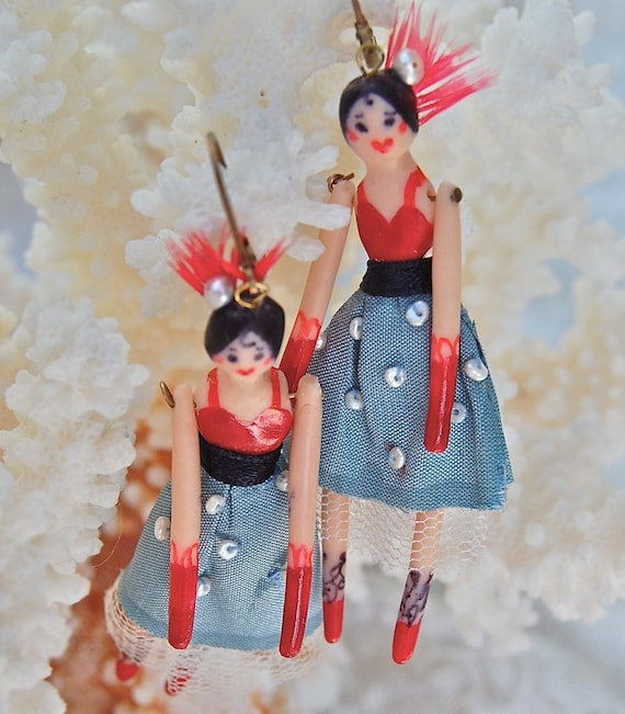 Exquisite Lilygrace Original Handmade Vintage Circus Show Girls, Freshwater Seed Pearls and  Real Silk Earrings