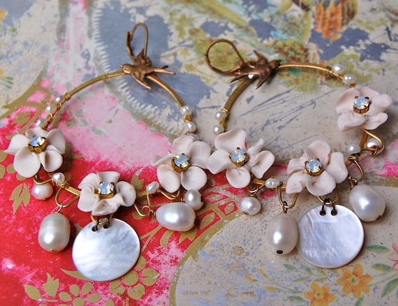 Lilygrace Ivory Roses and Bird  Hoop Earrings with Vintage Rhinestones, Mother of Pearl and Freshwater Pearls