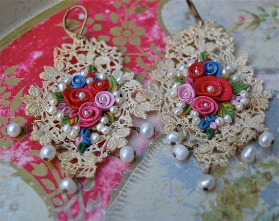 Lilygrace Flower Earrings with Roses, Vintage Silk Lace and Freshwater Pearls