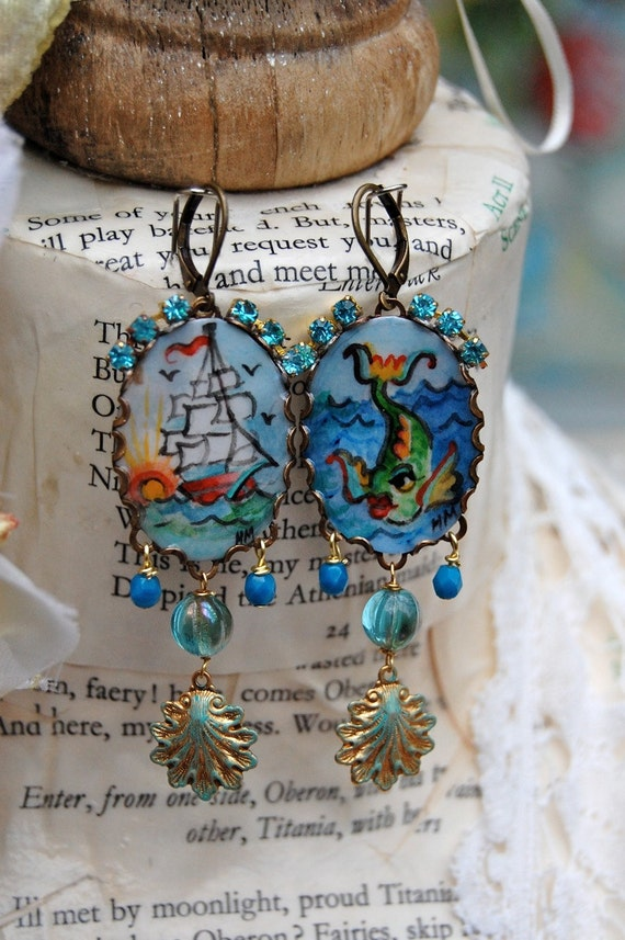 Lilygrace Marine Tattoo Handpainted Cameo Earrings with Tall Ships and Fish